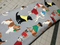 1 New King Size Flannel Handmade Pillowcase Dogs in Sweaters