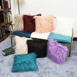 1 PC Fur Plush Square Throw Pillow Cases Home Decor Sofa Cus