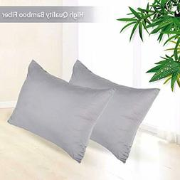 IdealHouse 100% Bamboo Fiber Pillowcase Set of 2 300 Thread
