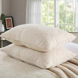 100% Cotton Quilted Pillow Sham Set of 2 Beige/White Embroid