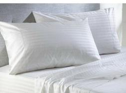 100% Cotton White Stripe 400 Thread-Count Pillowcase, Set of