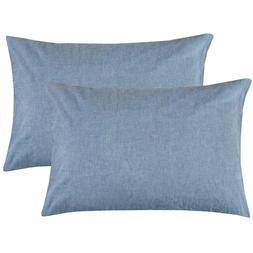 NTBAY 100% Stone Washed Cotton Pillowcases Set of 2, Breatha
