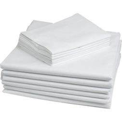 8 PIECE LOT NEW WHITE HOTEL PILLOW CASES COVERS T-180 STANDA