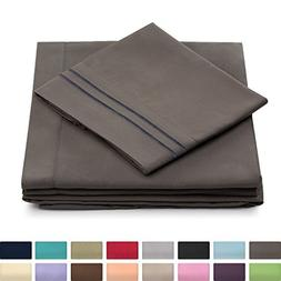 Cosy House Collection Queen Size Bed Sheets - Grey Luxury Sh