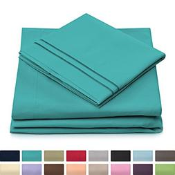 Queen Size Bed Sheets - Turquoise Luxury Sheet Set - Deep Po