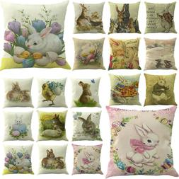 "18"" Easter Pillow Cases Linen Sofa Cushion Cover Sofa Bed Ho"