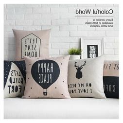 18 Inch Pillow Cover Nordic Deer Animal Quote Balloon Cushio
