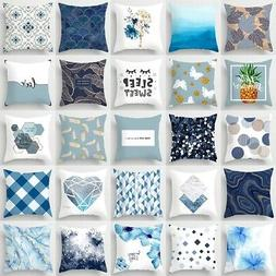 18'' Nordic Blue Pillow Cases Polyester Throw Cushion Cover