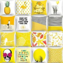 18 nordic yellow pillow cases polyester throw