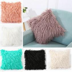 "18"" Soft Fur Plush Square Throw Pillow Cases Home Decor Sofa"