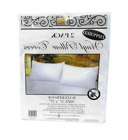 2 Deluxe Zippered Vinyl Pillow Covers Protects Against Bed B