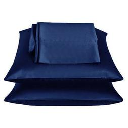 2 Pieces of 350TC Solid Navy Blue Soft Silky Satin Pillow Ca