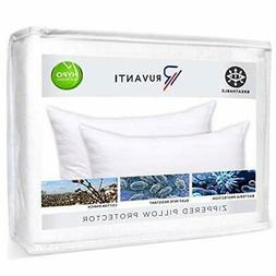 2 Pack Pillow Protectors Hypoallergenic Pillow Cases Zippere