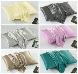 2 Pack Queen King Pillowcase Satin Silky Soft Premium Cushio