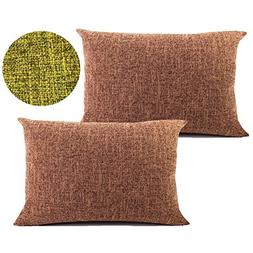 WOMHOPE 2 Pcs - Texturing Linen Cotton Throw Covers Pillow C