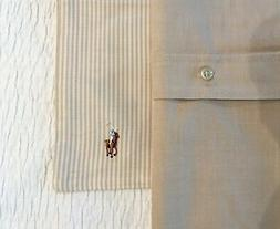 2 X RALPH LAUREN Pillow sham 100% cotton OXFORD Stripe BEIJE