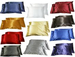 2pc New Queen/Standard Silk~y Satin Pillow Case Multiple Col