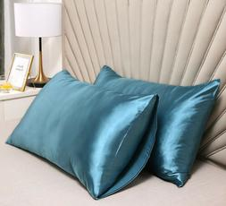 2pcs pillow cases standard stain slik soft