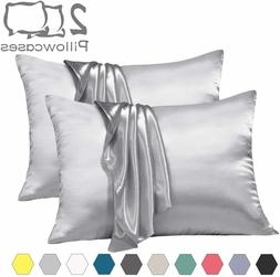 2PC Satin Pillowcase Queen zipper Non-slip Closure Pillow Co
