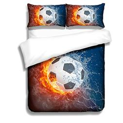 BOMCOM 3D Digital Printing Soccer Ball on Fire & Water with