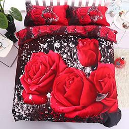 Alicemall 3D Rose Bedding Twin XL Big Red Rose Black Prints