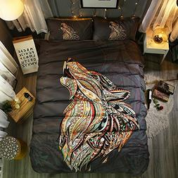 Hihotel 3D Watercolor Animal Print Bedding Sets Bohemian Sty