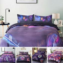 3Pcs Printed 3D Bedding Set Queen King Bedroom Quilt Cover P