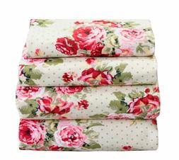 4 Pcs Floral Sheet Set Flat/Fitted/Pillowcases Pink Red Cott