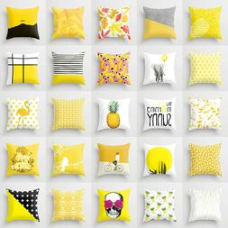 45 x 45cm Yellow Striped Pillowcase Geometric Waist Throw Cu