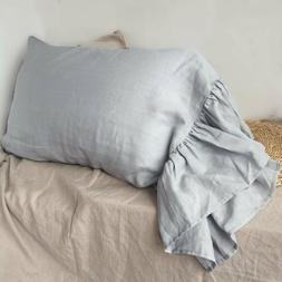 Long Ruffles Linen Pillowcase multicolor