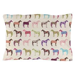 CafePress - Picolorful Horse Pattern - Standard Size Pillow