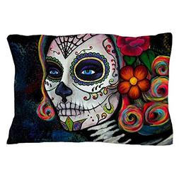 "CafePress Sugar Skull Candy Standard Size Pillow Case, 20""x3"