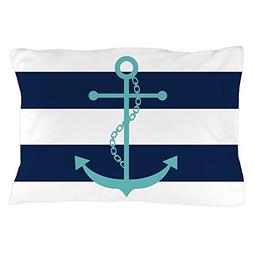 CafePress Teal Anchor On Navy Blue Stripes Standard Size Pil