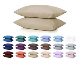 DreamHome Microfiber Pillowcases Set of 2 Standard Beige