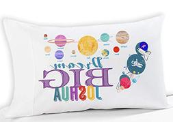 Personalized Space Solar System Dream Big Kids Pillow Case