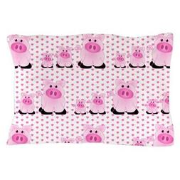 CafePress Adorable Country Pigs On Pink Hearts Pillow Case