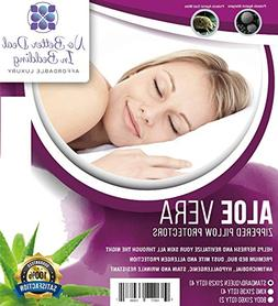 4 Pack Aloe Vera Premium Pillow Protectors, zippered Encasem