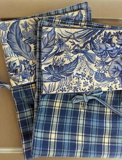April Cornell Blue Floral Gingham Pillow Cases & Bob Timberl
