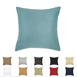 DreamHome 24 X 24 Inches Aqua Color Faux Suede Decorative Pi