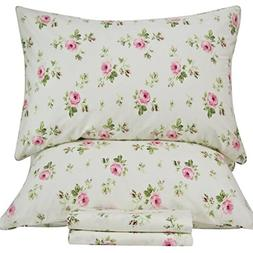 Queen's House Bed Sets Shabby Rose Floral Print Bedding Shee