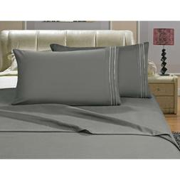 bed sheet set embroidered pillowcases microfiber solid