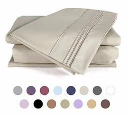 4 Piece Bed Sheets Set  1 Flat Sheet 1 Fitted Sheet and 2 Pi
