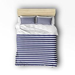 CHARMHOME 4 Piece Bed Sheets Set, Navy Blue White Extra Long