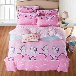 4pcs Beddingset One Duvet Cover Without Comforter One Flat S