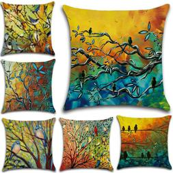 Bird Forest Cotton Sofa Pillow Cases Square Cushion Cover Be