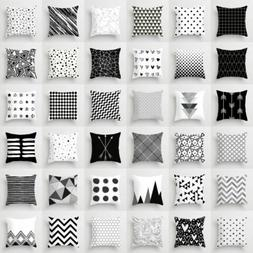 black and white geometric throw cover pillow