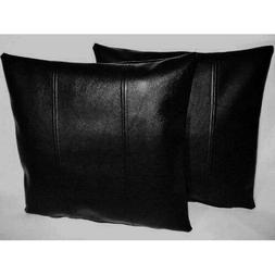 Black real LEATHER genuine sheep NAPPA LEATHER PILLOW CASES