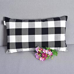 Black and White Classic Retro Checkers Plaids Linen Soild De