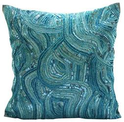Blue Accent Pillows, Sequins and Beaded Abstract Glitter Spa