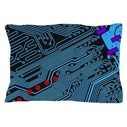 "CafePress Blue Circuit Board Standard Size Pillow Case, 20""x"